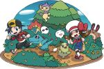 1boy 1girl :d aipom artist_request bag baseball_cap black_hair black_pants blue_eyes blue_sky brown_eyes brown_hair bush chikorita clouds cloudy_sky creature creatures_(company) cyndaquil day fangs flower game_freak gen_2_pokemon gold_(pokemon) happy hat hat_ribbon kotone_(pokemon) long_sleeves looking_at_viewer looking_away monkey musical_note nintendo official_art open_mouth outdoors overalls pants pokemon pokemon_(creature) pokemon_(game) pokemon_hgss ribbon sentret sky smile speech_bubble spoken_face spoken_musical_note totodile transparent_background tree twintails walking white_hat