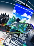 1girl art_brush barefoot blue_hair bottle brush city cityscape colorful commentary condensation_trail denim denim_shorts dutch_angle highres monochrome original paint paintbrush painting painting_(object) palette psychedelic rooftop short_hair shorts solo spray_bottle wenqing_yan wind windmill