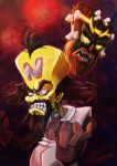 2boys absurdres angry bald beard black_hair bone crash_bandicoot dark facial_hair gloves highres labcoat male_focus mask multiple_boys neo_cortex scientist sharp_teeth shawn_lim signature teeth uka_uka yellow_eyes yellow_skin