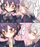 ! 2girls 2koma absurdres black_hair black_ribbon blush bow bowtie closed_eyes collared_shirt comic commentary_request facing_another fingers_together flower hair_ornament hair_ribbon highres konno_junko long_hair long_sleeves low_twintails mizuno_ai multiple_girls plaid_neckwear profile red_eyes ribbon shirt short_hair silver_hair smile spoken_exclamation_mark translation_request trembling twintails yellow_flower yuunagi_komo zombie_land_saga