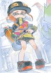 1girl baseball_cap black_footwear black_hat black_shorts closed_mouth cross-laced_footwear dutch_angle frown full_body grey_eyes hat holding holding_weapon ink_tank_(splatoon) inkling inkling_(language) jacket logo long_sleeves looking_at_viewer medium_hair orange_hair outdoors print_hat shoes short_shorts shorts solo splatoon splatoon_(series) splatoon_2 splattershot_(splatoon) squidbeak_splatoon standing taroji tentacle_hair weapon yellow_jacket