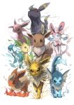 ;d ahoge black_eyes blue_eyes brown_eyes creatures_(company) eevee electricity espeon feathers fire flame flareon forehead_jewel game_freak gen_1_pokemon gen_2_pokemon gen_4_pokemon gen_5_pokemon gen_6_pokemon glaceon highres ice ico6 jolteon leaf leafeon looking_at_viewer nintendo no_humans one_eye_closed open_mouth pokemon pokemon_(creature) red_eyes smile smoke sylveon umbreon vaporeon water white_background