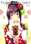 1girl 2019 animal animal_hug azuma_yuki bangs blush boar bow brown_hair checkered checkered_bow closed_mouth eyebrows_visible_through_hair floral_print flower french green_bow hair_between_eyes hair_bow hair_flower hair_ornament happy_new_year japanese_clothes kimono long_hair long_sleeves new_year original print_kimono red_eyes red_flower sidelocks signature smile solo striped striped_bow translated twitter_username upper_body white_background white_kimono wide_sleeves