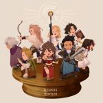alfyn_(octopath_traveler) arrow bag black_hair blonde_hair book bow_(weapon) bracelet braid braided_ponytail brown_hair chibi cloak closed_eyes cyrus_(octopath_traveler) dancer dress fringe_trim gloves green_eyes h'aanit_(octopath_traveler) hair_over_one_eye hat irono16 jewelry linde_(octopath_traveler) long_hair looking_at_viewer multiple_boys multiple_girls navel necklace octopath_traveler olberic_eisenberg one_eye_closed open_mouth ophilia_(octopath_traveler) ponytail primrose_azelhart scar scarf short_hair simple_background smile snow_leopard staff sword therion_(octopath_traveler) tressa_(octopath_traveler) weapon white_hair
