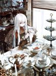 1girl 2019 asahiro blush candle chair chandelier cup curtains flower from_above glass happy_new_year indoors long_hair napkin new_year original pale_skin red_eyes saucer shelf signature silver_hair sitting smile solo sunlight table tea teacup teapot window