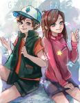 1boy 1girl arms_up artist_name baseball_cap brother_and_sister brown_hair closed_mouth commentary copyright_name dipper_pines english_commentary gravity_falls green_jacket green_shorts grey_eyes hairband hand_up hat highres jacket long_hair long_sleeves looking_at_viewer mabel_pines pencil_skirt pink_hairband pink_sweater pointing purple_skirt shorts siblings simha14 skirt sweater turtleneck watermark web_address