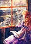 1girl aircraft blimp brown_hair building dirigible dress flag gun hair_ribbon highres indoors long_hair long_sleeves looking_out_window max07817 mecha original purple_dress purple_ribbon ribbon scenery solo standing steampunk wallpaper_(object) weapon wide_sleeves window
