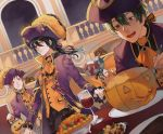 3boys absurdres alcohol ascot bangs bat black_frills black_ribbon blue_hair candy cane cookie cup dramatic_stars drinking_glass facial_hair food frilled_jacket ghost glasses goatee green_eyes hair_ribbon hat high_collar highres hungry idolmaster idolmaster_side-m jack-o'-lantern jacket kashiwagi_tsubasa lollipop long_hair looking_at_viewer male_focus multiple_boys orange_vest parted_bangs pie pink_ribbon pirate_costume pirate_hat ponytail pumpkin purple_jacket red_eyes redhead ribbon sakuraba_kaoru short_hair smile spoon tendou_teru trick_or_treat wine wine_glass yokuni_(yokunill001121)