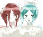 2others alternate_costume alternate_hairstyle androgynous aqua_eyes aqua_hair blush embarrassed green_eyes green_hair gyu_nba32 hair_over_one_eye hair_ribbon highres houseki_no_kuni japanese_clothes kimono long_bangs long_hair looking_at_viewer multiple_others open_mouth phosphophyllite red_eyes redhead ribbon shinsha_(houseki_no_kuni) short_hair smile twintails upper_body white_background white_kimono white_skin