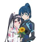 2girls album_cover artist_request bare_shoulders black_bodysuit black_hair blue_bodysuit blue_brooch blue_gloves blue_hair blush bodysuit bow bowtie breastplate breasts brooch center_frills collarbone commentary_request cover dress egao_no_daika elbow_gloves fingernails flower frilled_dress frills gloves hair_between_eyes hair_ornament hairclip half-closed_eyes head_on_another's_shoulder head_on_head heart-shaped_gem highres holding holding_flower jewelry light_blue_eyes lips medium_breasts mole mole_under_eye multiple_girls official_art pilot_suit pink_eyes pink_neckwear ponytail shiny shiny_hair simple_background sleeveless sleeveless_dress small_breasts smile stella_shining strapless strapless_dress sunflower tiara twintails white_background white_dress white_frills white_gloves yuuki_soleil