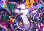 1girl abigail_williams_(fate/grand_order) akirannu ass bangs black_bow black_hat black_legwear black_panties bow bug butterfly commentary_request fate/grand_order fate_(series) glowing hat hat_bow insect kneehighs legs_up long_hair looking_at_viewer night night_sky no_shoes orange_bow pale_skin panties parted_bangs parted_lips red_eyes revealing_clothes silver_hair single_kneehigh single_thighhigh sky solo star_(sky) starry_sky tentacle thigh-highs topless transparent underwear very_long_hair witch_hat