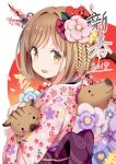 1girl 2019 :d animal bangs blue_flower blush boar brown_eyes chinese_zodiac commentary_request eyebrows_visible_through_hair fingernails floral_print flower givuchoko hair_flower hair_ornament holding holding_animal japanese_clothes kimono light_brown_hair looking_at_viewer looking_to_the_side obi open_mouth original pink_flower pink_kimono print_kimono purple_flower red_flower sash smile solo tree_branch year_of_the_pig