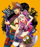 1boy 1girl 2018 :d animal_ears arm_belt armpits blue-tinted_eyewear blue_pants breasts brown_hair cleavage crop_top dated fangs floating_hair fur-trimmed_skirt glasses gloves green_eyes guvava halloween halloween_costume highres holding holding_instrument instrument kutsuno long_hair macross macross_7 miniskirt mylene_jenius nekki_basara open_mouth pants paw_gloves paws pink_hair pumpkin purple_gloves purple_skirt signature skirt sleeveless small_breasts smile very_long_hair yellow_background yellow_eyes
