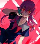 1girl bow cellphone commentary_request dress gasai_yuno hair_between_eyes hair_bow hand_up highres holding holding_phone long_hair looking_at_viewer mirai_nikki phone pink_hair ponytail red_eyes sailor_dress school_uniform short_sleeves sidelocks smile solo splatter upper_body walzrj wide-eyed