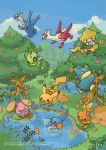 2005 :d bird black_eyes blue_eyes blue_sky blush_stickers bush celebi closed_mouth clouds copyright_name creature creatures_(company) dated day eating eo_kanako flower flying food fruit game_freak gen_1_pokemon gen_2_pokemon gen_3_pokemon gen_4_pokemon grass happy highres holding holding_food holding_fruit jirachi jumping latias latios legendary_pokemon looking_up mudkip munchlax mushroom nature nintendo no_humans official_art one_eye_closed open_mouth oran_berry outdoors pecha_berry pikachu pokemon pokemon_(creature) pool red_eyes reflection sky smile standing standing_on_one_leg swimming torchic tree water watermark whismur wings yellow_eyes