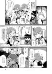 /\/\/\ 3girls abukuma_(kantai_collection) apron bangs blunt_bangs braid ceiling_light closed_eyes comic double_bun emphasis_lines glass gloves greyscale hair_rings hand_on_own_cheek kantai_collection kitakami_(kantai_collection) long_hair mizuno_(okn66) monochrome multiple_girls name_tag neckerchief ooi_(kantai_collection) page_number restaurant sidelocks single_braid sitting solid_circle_eyes sweatdrop triangle_mouth twintails uniform v_arms waist_apron waitress wiping_sweat wristband