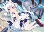 1girl armpit_crease azur_lane bangs bare_shoulders beach belchan_(azur_lane) belfast_(azur_lane) blue_choker blush burnt_clothes buttons caustics choker closed_mouth day dress embarrassed eyebrows_visible_through_hair frilled_dress frills from_above long_hair looking_at_viewer machinery maid maid_headdress mamemena mary_janes one_side_up outdoors pantyhose partially_submerged ribbon_choker rudder_footwear shoes sitting sleeveless sleeveless_dress smoke solo swept_bangs torn_clothes torpedo turret violet_eyes water wavy_mouth white_hair white_legwear yokozuwari