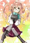 1girl absurdres adapted_turret ahoge aqua-framed_eyewear boots cannon cross-laced_footwear double_bun full_body glasses gradient gradient_background grey_legwear hair_bun halterneck highres kanmiya_shinobu kantai_collection lace-up_boots long_sleeves looking_at_viewer makigumo_(kantai_collection) pantyhose pink_hair school_uniform semi-rimless_eyewear shirt sleeves_past_fingers sleeves_past_wrists smile solo turret twintails under-rim_eyewear white_shirt yellow_eyes