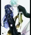 2others androgynous aqua_eyes aqua_hair blue_eyes blue_hair colored_eyelashes crack crystal_hair elbow_gloves face-to-face gem_uniform_(houseki_no_kuni) gloves golden_arms hime_cut houseki_no_kuni lapis_lazuli_(houseki_no_kuni) long_hair looking_at_another multiple_others phosphophyllite saku_(saku5991) short_hair smile tearing_up tears