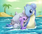 baby character_name clouds commentary creature english_commentary gen_1_pokemon highres lapras no_humans palm_tree parent_and_child pokemon pokemon_(creature) pokemon_number shiny_pokemon twime777 water