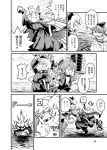 3girls bangs blunt_bangs bow bumping comic cosplay crown emphasis_lines explosion greyscale hair_between_eyes hair_bow hair_ribbon kantai_collection long_hair low_twintails mizuno_(okn66) monochrome multiple_girls nenohi_(kantai_collection) page_number queen_(snow_white) queen_(snow_white)_(cosplay) ribbon shaded_face shirayuki_(kantai_collection) short_twintails sidelocks snow_white speech_bubble thick_eyebrows tress_ribbon tripping twintails wet