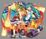2girls :d absurdly_long_hair ahoge ankle_strap aqua_eyes aqua_nails back-to-back black_footwear black_skirt blonde_hair blush boots collared_shirt crop_top detached_sleeves dj gradient_hair green_hair grey_background hair_between_eyes hatsune_miku hatsune_miku_(vocaloid3) headset highres holding holding_microphone jewelry long_hair microphone monitor multicolored_hair multiple_girls musical_note nail_polish necklace necktie nou official_art open_mouth orange_eyes phonograph pleated_skirt pointing red_nails sandals see-through_sleeves shirt short_shorts shorts shoumetsu_toshi_2 skirt smile speaker stage_lights thigh-highs thigh_boots tie_clip transparent_jacket turntable twintails very_long_hair vocaloid watermark waveform white_shirt white_shorts wristband