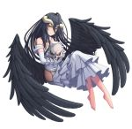 1girl ahoge ainz_ooal_gown albedo ass_wings bare_hips barefoot black_hair black_wings choker collarbone dress elbow_gloves feathered_wings floating_hair full_body gloves highres holding_skull horns invisible_chair jewelry layered_dress long_dress long_hair looking_at_viewer overlord_(maruyama) ring simple_background sitting sleeveless sleeveless_dress slit_pupils smile solo very_long_hair white_background white_dress white_gloves wings yellow_eyes yoruusagi