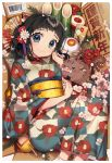 >_< 1girl 2019 ahoge animal bamboo bangs barcode black_hair blue_eyes boar box camellia cherry_blossoms chinese_zodiac clenched_hands commentary_request fan floral_print flower folded_ponytail folding_fan hagoita hair_flower hair_ornament hand_up in_box in_container japanese_clothes kagami_mochi kendama kimono long_sleeves looking_at_viewer nengajou new_year obi original paddle pink_flower red_flower sakura_yuki_(clochette) sash sidelocks smile solo tassel white_flower wide_sleeves year_of_the_pig