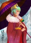 1girl absurdres commentary dark_skin dragon_compass english_commentary fire_emblem fire_emblem_heroes fur-trimmed_kimono fur_trim green_hair headgear highres holding holding_umbrella japanese_clothes kimono laegjarn_(fire_emblem_heroes) looking_away new_year nintendo oriental_umbrella pink_lips red_eyes red_kimono short_hair signature solo translation_request umbrella