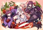 bangs bikini boots breasts caster celtic_mythology cleavage crown detached_sleeves eyebrows_visible_through_hair fate/grand_order fate_(series) food fruit fruit_background gae_bolg grapes hair_between_eyes high_heel_boots high_heels hime_cut irish_mythology lancer leaf long_hair looking_at_viewer medb_(fate)_(all) medb_(fate/grand_order) medium_breasts miniskirt multiple_girls pink_hair polearm purple_hair red_eyes rider scathach_(fate)_(all) scathach_(fate/grand_order) scathach_skadi_(fate/grand_order) shimo_(s_kaminaka) shoulder_armor skin_tight skirt small_breasts smile spear strawberry swimsuit thigh-highs thighs weapon white_bikini white_skirt yellow_eyes