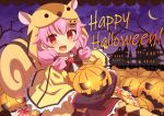 1girl :d animal_ears animal_hood argyle argyle_legwear bangs bare_tree blush bow brown_bow brown_gloves brown_skirt capelet clouds crescent_moon daisy_(flower_knight_girl) eyebrows_visible_through_hair fang flower_knight_girl gloves glowing hair_ornament happy_halloween heart holding hood hood_up hooded_capelet jack-o'-lantern jack-o'-lantern_hair_ornament lace_border long_hair looking_at_viewer mizunashi_(second_run) moon night night_sky open_mouth outside_border pantyhose pink_hair purple_sky red_eyes shirt skirt sky smile solo squirrel_ears squirrel_girl squirrel_hood squirrel_tail tail tree white_shirt yellow_capelet