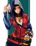 1girl black_hair breasts cleavage commentary_request devil_may_cry dmc:_devil_may_cry english_text facial_mark forehead_mark hood hoodie jacket jewelry kat_(devil_may_cry) medium_hair nanakusa_gayu_(maple_syrup_10324) necklace solo spray_can
