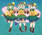 3girls aqua_background black_hat blush_stickers boots bow brown_footwear brown_legwear closed_mouth frilled_sleeves frills full_body green_eyes green_hair green_hat green_skirt grey_eyes hand_holding hand_up hands_up hat hat_bow heart heart_of_string itatatata komeiji_koishi leg_up long_sleeves looking_at_viewer loose_socks medium_hair multiple_girls multiple_persona open_mouth shirt skirt smile stained_glass standing standing_on_one_leg touhou wavy_hair white_hair wide_sleeves yellow_bow yellow_shirt