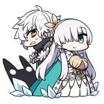 1boy 1girl ahoge anastasia_(fate/grand_order) blue_cape blue_eyes bow brown_eyes cape chan_co chibi closed_mouth commentary_request dress eyebrows_visible_through_hair fate/grand_order fate_(series) grey_hair hair_bow hair_over_one_eye hairband holding kadoc_zemlupus long_dress long_hair looking_at_viewer one_eye_covered pink_bow simple_background smile sweatdrop white_background white_dress