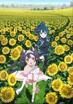 2girls :o absurdres ascot bare_shoulders black_bodysuit black_footwear black_gloves black_hair blue_bodysuit blue_eyes blue_hair bodysuit boots bow breasts brooch building collarbone commentary_request day dress egao_no_daika elbow_gloves field flower flower_field gloves grass hand_holding heart-shaped_gem highres jewelry key_visual looking_at_viewer lower_teeth medium_breasts mole mole_under_eye multiple_girls nakamura_naoto official_art open_mouth outdoors pilot_suit pink_bow pink_ribbon ponytail ribbon round_teeth running shiny shiny_hair shoe_ribbon short_dress smile stella_shining strapless strapless_dress sunflower teeth tongue tree twintails upper_teeth white_dress white_footwear white_gloves white_neckwear yuuki_soleil