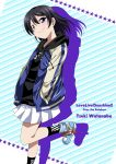1girl black_hair black_legwear blue_footwear character_name copyright_name english_text eyebrows_visible_through_hair hands_in_pockets highres hood hooded_jacket jacket looking_at_viewer love_live! love_live!_sunshine!! love_live!_sunshine!!_the_school_idol_movie_over_the_rainbow miniskirt shiny shiny_hair short_hair skirt solo spoilers star starry_background striped striped_background violet_eyes watanabe_tsuki windart