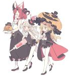 3girls :d akatsuki_yuni animal_ear_fluff ascot asymmetrical_horns bangs bare_shoulders black_cape black_footwear black_hat black_skirt black_vest blade_(galaxist) blonde_hair blood blush bow breasts brown_hair cape closed_eyes closed_mouth commentary_request crossover curled_horns eyebrows_visible_through_hair fang hair_bow hair_ornament hairclip hat holding holding_plate holding_syringe holding_umbrella jack-o'-lantern knife large_syringe long_hair long_skirt magrona magrona_channel medium_breasts mini_hat mini_top_hat multicolored multicolored_cape multicolored_clothes multiple_crossover multiple_girls natori_sana open_mouth orange_umbrella oversized_object pantyhose plaid plate pleated_skirt red_bow red_cape red_eyes redhead sana_channel shirt shoes simple_background skirt sleeveless sleeveless_shirt smile standing standing_on_one_leg stuffed_animal stuffed_bunny stuffed_toy syringe themed_object tilted_headwear top_hat two_side_up umbrella uni_channel very_long_hair vest virtual_youtuber white_background white_legwear white_neckwear white_shirt wrist_cuffs