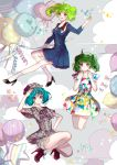 :d :o abstract_background absurdres ahoge alternate_costume alternate_hair_color balloon blue_dress detective dress ga.n gradient_eyes green_hair hand_on_hip hand_on_own_head hand_up hands_up high_heels highres macross macross_frontier multicolored multicolored_eyes multiple_persona open_mouth plaid pleated_dress ranka_lee red_eyes smile