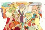 1boy 4girls blonde_hair blue_hair brother_and_sister closed_eyes dark_skin earrings feather_trim fire_emblem fire_emblem_heroes fjorm_(fire_emblem_heroes) flower fur_trim gradient_hair green_hair gunnthra_(fire_emblem) hair_flower hair_ornament hand_on_another's_head hands_on_another's_shoulders hrid_(fire_emblem_heroes) japanese_clothes jewelry kimono laegjarn_(fire_emblem_heroes) laevateinn_(fire_emblem_heroes) long_hair long_sleeves multicolored_hair multiple_girls nintendo obi open_mouth pink_hair red_eyes sasaki_(dkenpisss) sash short_hair short_sleeves siblings silver_hair sisters smile twintails wide_sleeves