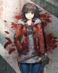 1girl alternate_costume anonamos belt black_hair brown_jacket buttons casual concrete denim eyebrows_visible_through_hair fingerless_gloves flower gloves graffiti grey_shirt hand_in_pocket highres hood hood_down jacket jeans jewelry looking_at_viewer messy_hair necklace pants rose ruby_rose rwby shadow shirt short_hair smile solo spray_can wall