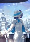 1girl arm_support blue_sky breasts brown_hair bubble building closed_mouth clouds cloudy_sky commentary_request day dress flower gloves hat hat_flower highres jacket long_sleeves looking_away looking_to_the_side outdoors purple_flower short_hair silhouette sky small_breasts solo_focus suntory suntory_nomu virtual_youtuber white_dress white_gloves white_hat white_jacket yasukura_(shibu11)