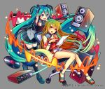 2girls :d absurdly_long_hair aqua_eyes aqua_hair bangs black_footwear black_skirt blonde_hair blush boots bracelet breasts cleavage commentary_request computer_tower detached_sleeves gradient_hair green_hair grey_background grey_shirt hair_between_eyes hand_on_headphones hatsune_miku headphones headphones_around_neck highres holding holding_paper jewelry leaning_on_object long_hair looking_at_another looking_at_viewer miniskirt multicolored_hair multiple_girls nou official_art open_mouth paper pleated_skirt pointing print_shirt record red_shirt sandals shirt short_shorts short_sleeves shorts shoulder_cutout shoumetsu_toshi_2 skirt smile speaker star star_print swivel_chair thigh-highs thigh_boots tied_shirt twintails very_long_hair vocaloid watermark waveform white_shorts yellow_eyes