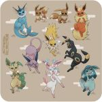 absurdres black_eyes blue_eyes brown_background brown_eyes carolina_patrao closed_mouth commentary creature creatures_(company) eevee english_commentary espeon evolution flareon full_body game_freak gen_1_pokemon gen_2_pokemon gen_4_pokemon gen_6_pokemon glaceon highres jolteon jumping leafeon nintendo no_humans open_mouth pokemon pokemon_(creature) red_eyes signature simple_background standing sylveon tongue tongue_out umbreon vaporeon violet_eyes watermark web_address