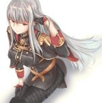 1girl adjusting_hair aiguillette bangs binaray black_gloves boots breasts closed_mouth commentary_request gloves highres large_breasts legs_together long_hair military military_uniform pantyhose red_eyes selvaria_bles senjou_no_valkyria senjou_no_valkyria_1 silver_hair sitting thigh-highs thigh_boots uniform very_long_hair