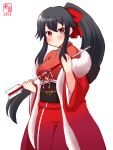1girl alternate_costume arrow black_hair blush breasts closed_mouth coat hair_between_eyes highres japanese_clothes kanon_(kurogane_knights) kantai_collection kimono large_breasts long_hair long_sleeves looking_at_viewer ponytail red_eyes red_kimono sidelocks simple_background solo white_background winter_clothes winter_coat yahagi_(kantai_collection) yukata