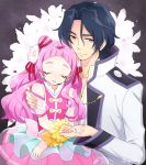1boy 1girl bare_shoulders black_hair closed_eyes coat commentary_request cure_yell earrings floral_background flower george_kurai hair_between_eyes hair_flower hair_ornament hair_ribbon hand_holding heart heart_hair_ornament hugtto!_precure jewelry leaning_on_person lily_(flower) lipstick long_hair long_sleeves magical_girl makeup nono_hana pink_hair pink_skirt pom_poms precure ribbon see-through_sleeves shaded_face sitting sitting_on_lap sitting_on_person skirt sleeping sleeping_on_person twitter_username white_flower yellow_eyes yui_(kanatamoo)
