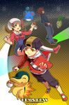 1girl 2boys :d backwards_hat baseball_cap black_eyes black_hair breasts brown_eyes brown_hair checkered checkered_background chikorita closed_eyes closed_mouth commentary creature creatures_(company) cyndaquil english_commentary full_body game_freak gen_2_pokemon gold_(pokemon) happy hat holding holding_poke_ball kaze-hime kotone_(pokemon) long_sleeves marill multiple_boys nintendo open_mouth overalls pants poke_ball poke_ball_(generic) pokemon pokemon_(creature) pokemon_(game) pokemon_hgss red_eyes shoes silver_(pokemon) small_breasts smile twintails watermark web_address white_hat yellow_eyes