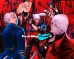 black_hair blonde_hair blue_eyes breasts cleavage commentary_request dante_(devil_may_cry) devil_may_cry devil_may_cry_4 gloves highres jacket lady_(devil_may_cry) mineco000 multiple_boys multiple_girls nero_(devil_may_cry) short_hair sword trish_(devil_may_cry) vergil weapon