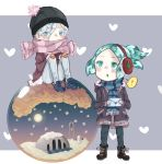 2others ? absurdres alternate_costume alternate_hairstyle androgynous antarcticite aqua_eyes aqua_hair beanie blue_eyes blush boots chibi coat colored_eyelashes contemporary crystal_hair earmuffs green_eyes green_hair hair_between_eyes hat highres houseki_no_kuni letter mittens multiple_others phosphophyllite ponytail scarf short_hair sitting snow_globe spoken_question_mark thick_eyebrows white_hair winter_clothes