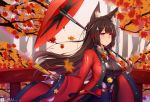 1girl absurdres amagi_(azur_lane) animal_ear_fluff animal_ears artist_name autumn azur_lane bangs black_kimono blush bridge brown_hair closed_fan commentary_request dated day falling_leaves fan folding_fan fox_ears fox_girl highres holding holding_fan holding_umbrella huge_filesize japanese_clothes kimono leaf long_hair long_sleeves looking_away maple_leaf obi open_clothes oriental_umbrella outdoors parted_lips sash short_eyebrows solo taitai tassel tree umbrella upper_body violet_eyes wide_sleeves